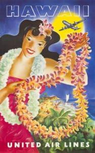 Hawaiian girl with Plumeria leis